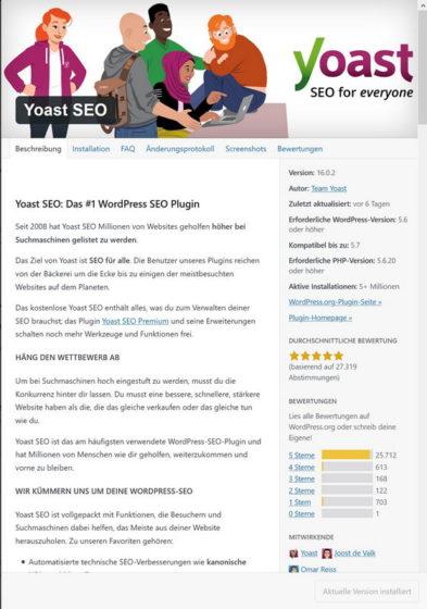 Beispiel Plugin Yoast SEO Plugin